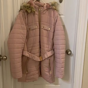 Pink puffy jacket with detachable hoodie
